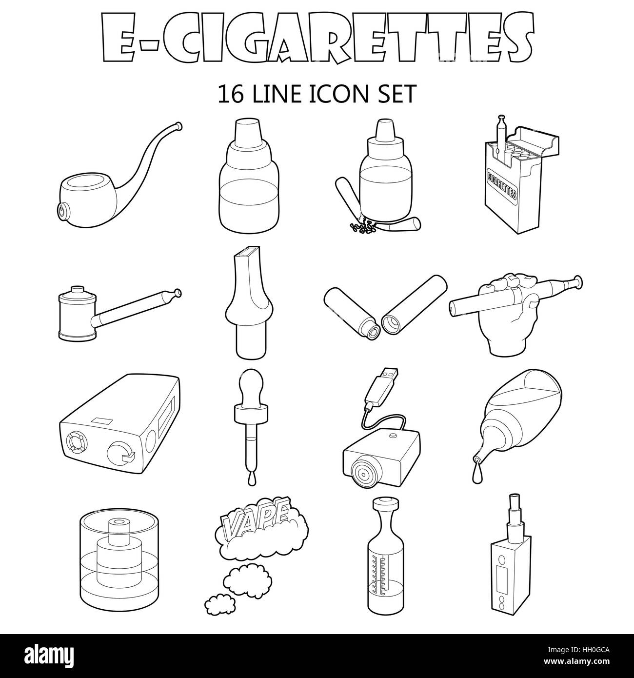 E-cigarettes icons set, outline style Stock Vector