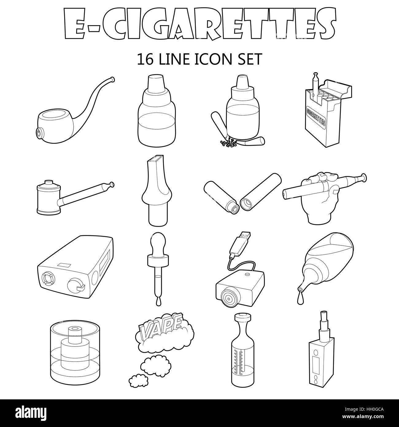 E-cigarettes icons set, outline style - Stock Image