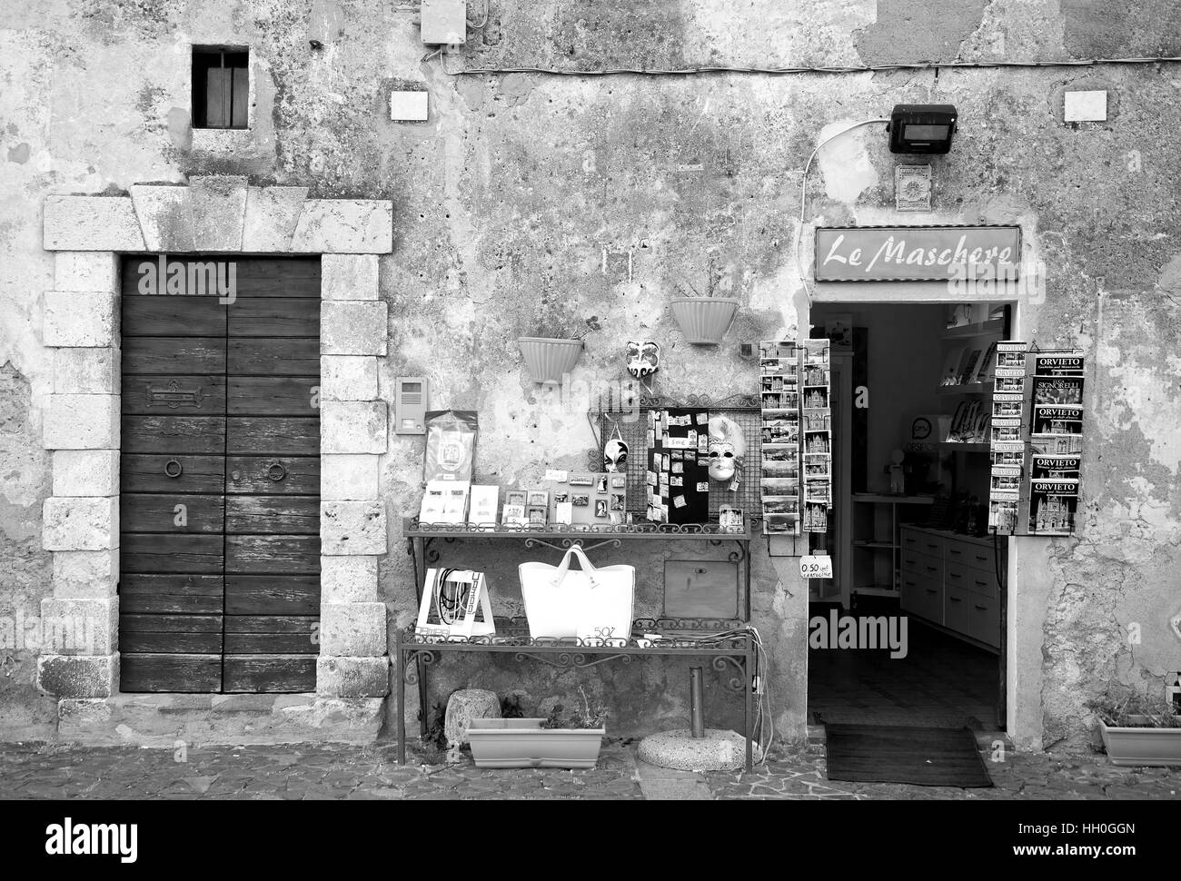 Orvieto, Italy - March 16, 2014: one of the many souvenir shop in Orvieto (Italy). - Stock Image
