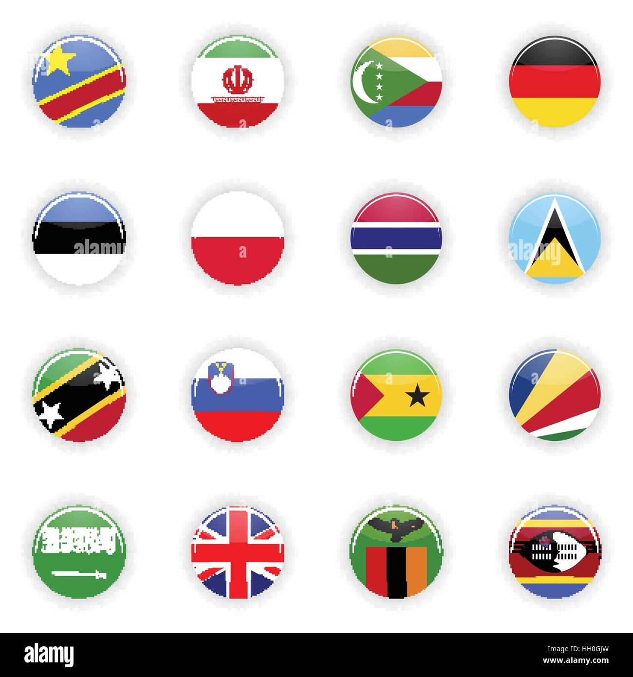Flags set of the world Stock Vector