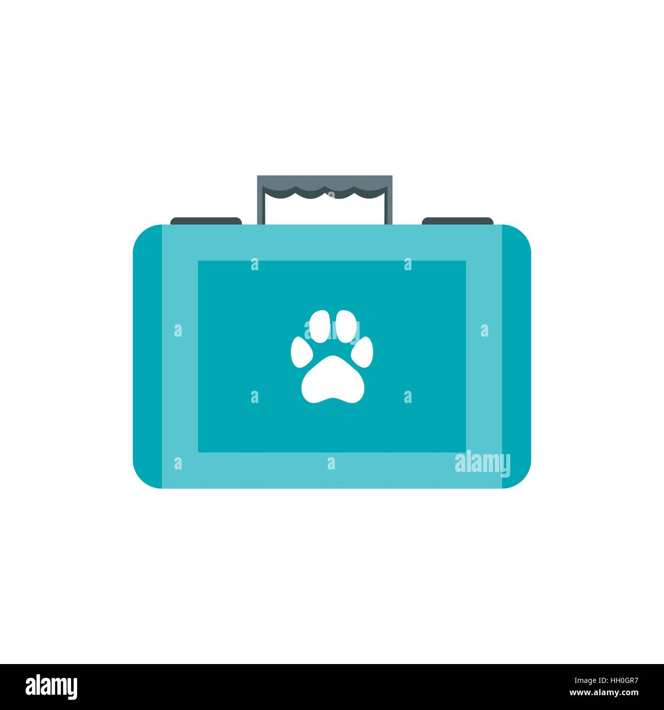 Pet first aid kit icon, flat style - Stock Image