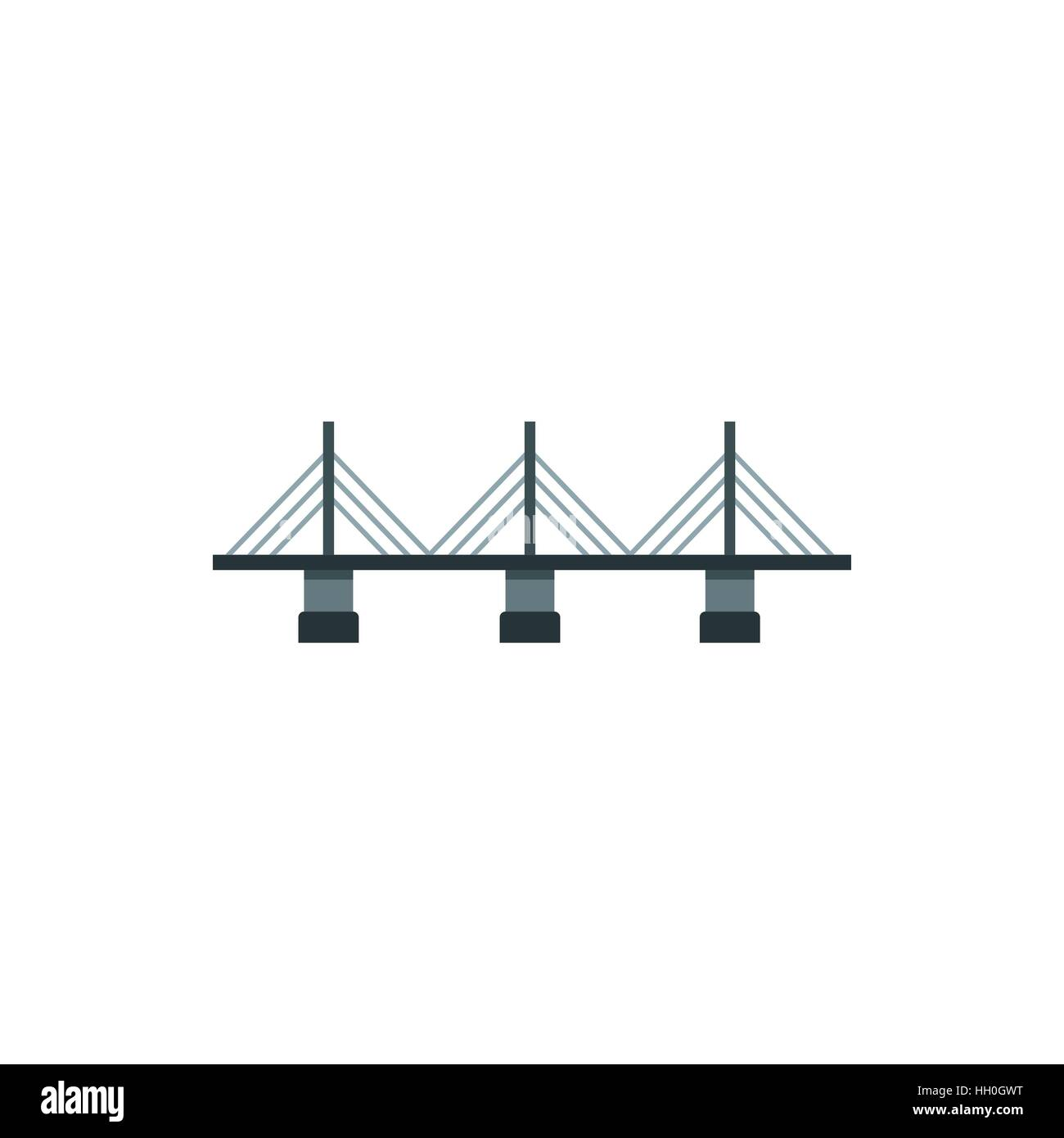 suspension bridge icon in flat style HH0GWT suspension bridge icon in flat style stock vector art & illustration