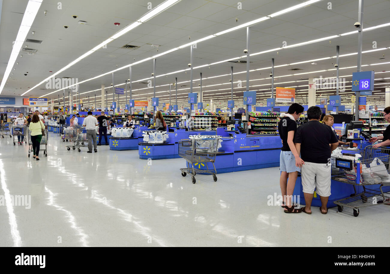 Wall Mart supermarket checkout counters, Miami, Florida - Stock Image