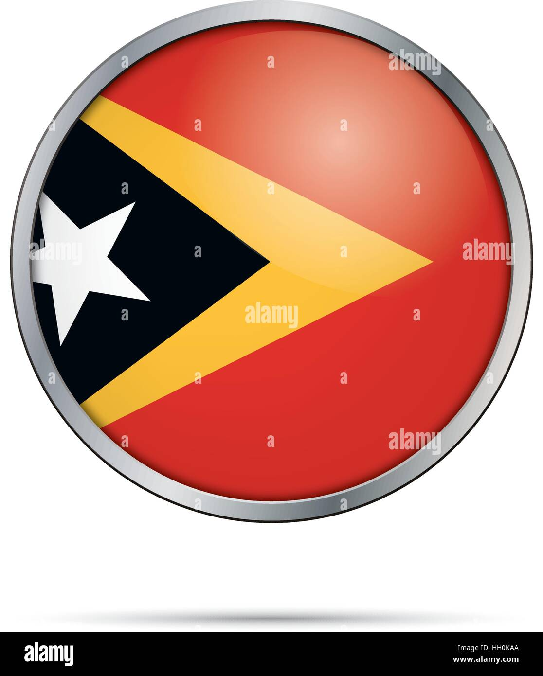 Vector Timor-Leste flag in glass button style with metal frame. Stock Vector