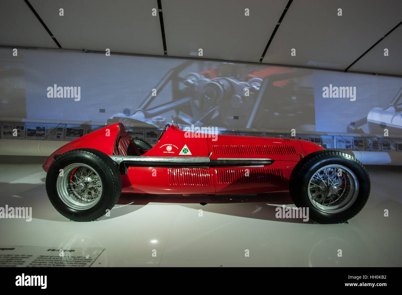 A 1937 Alfa Romeo 158 Alfetta vintage Formula One racing car pictured at the Ferrari Museum in Modena Inexhibit - Stock Image