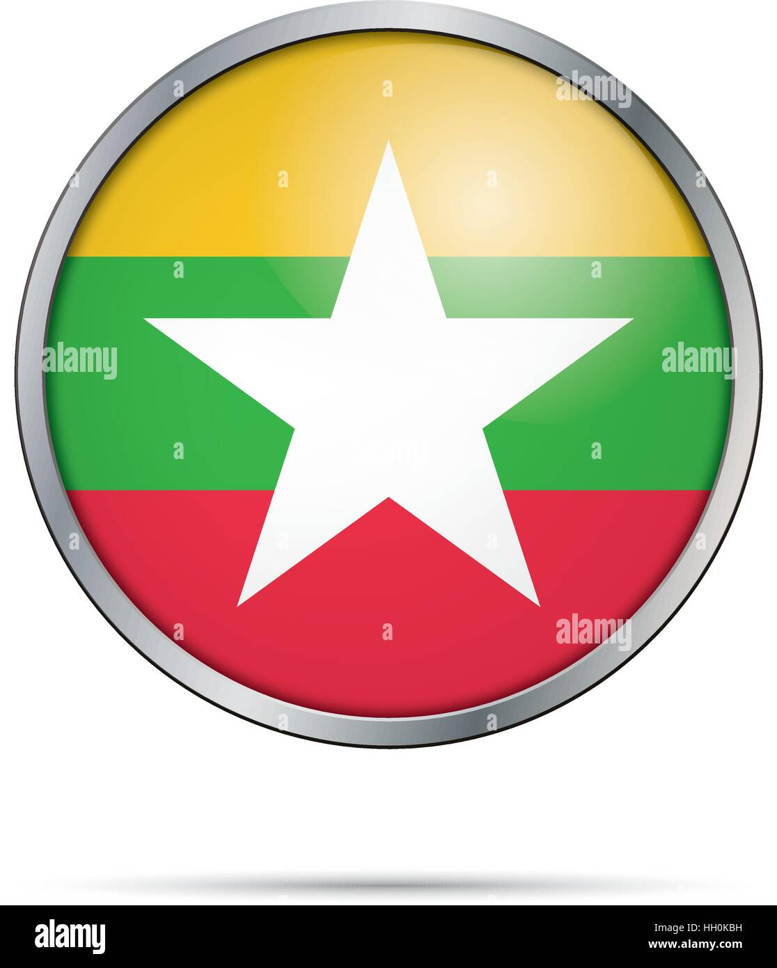 Vector Myanmaran flag Button. Myanmar flag in glass button style with metal frame. - Stock Vector