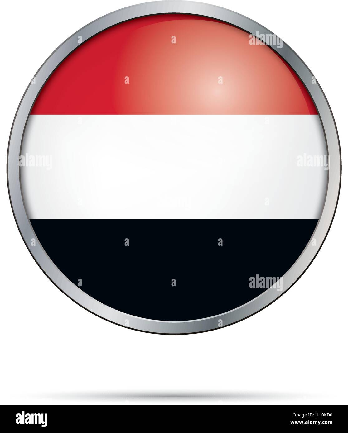 Vector Yemenite flag Button. Yemen flag in glass button style with metal frame. - Stock Vector