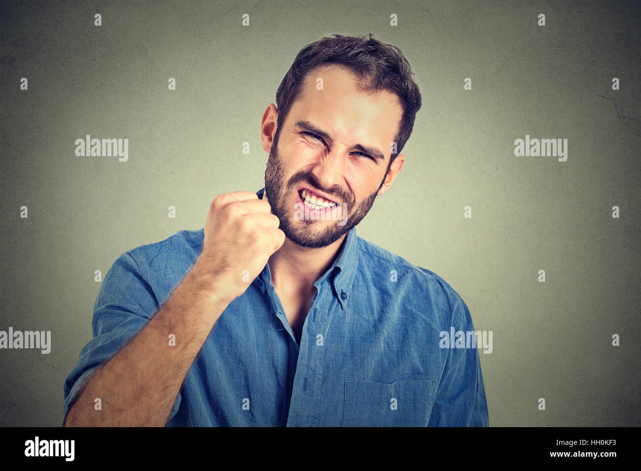 portrait of young angry man - Stock Image