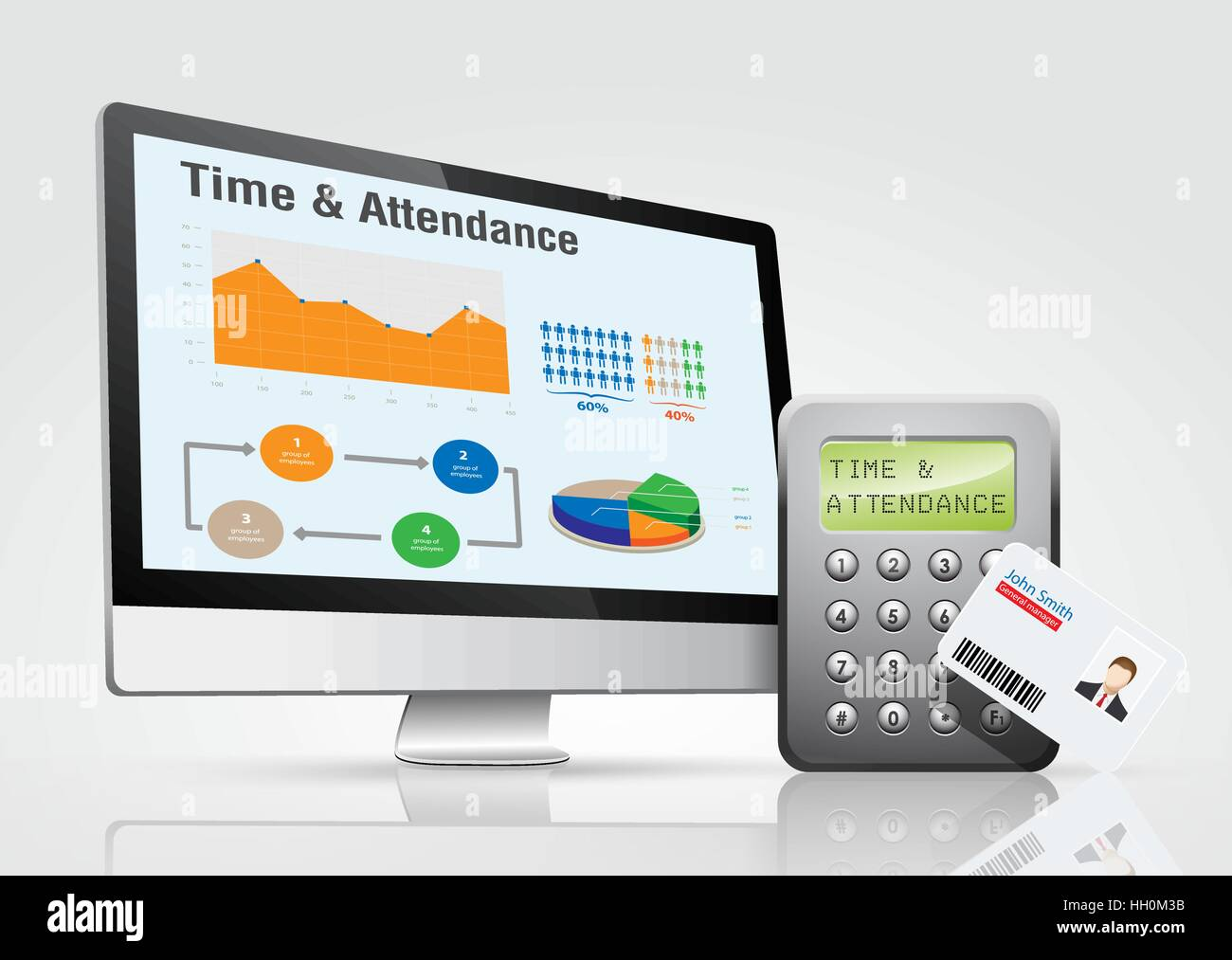 access control system time and attendance management stock vector