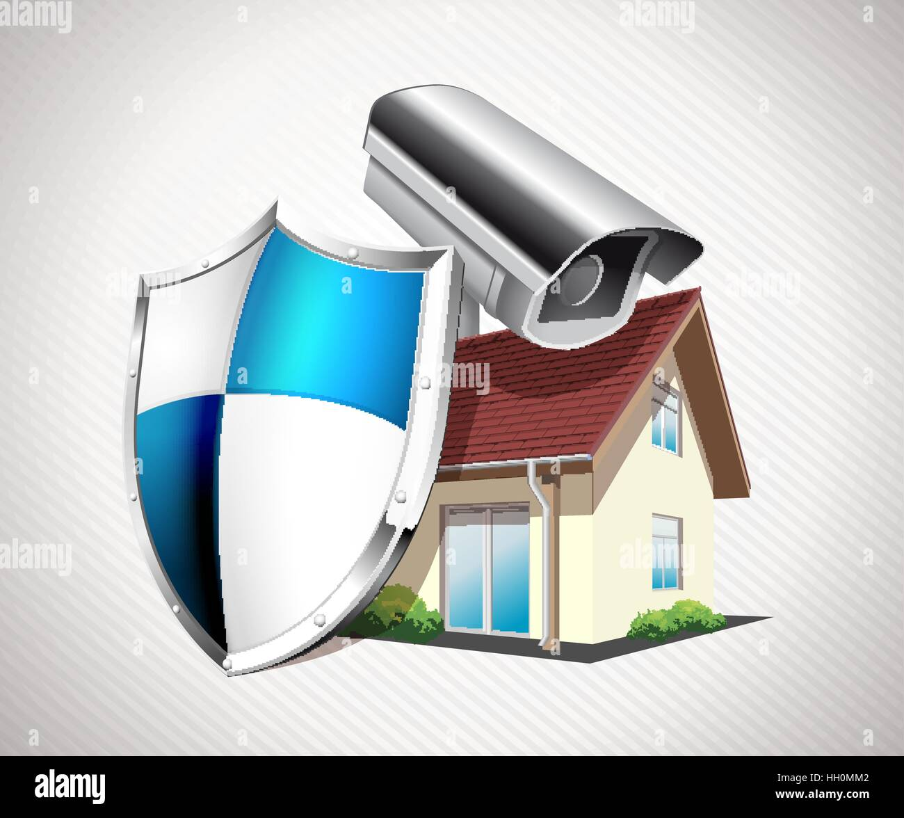 House with protection shield and CCTV - home security concept Stock ...