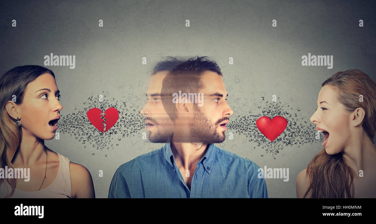 New relationship concept. Love triangle. Young man falls in love with another woman - Stock Image