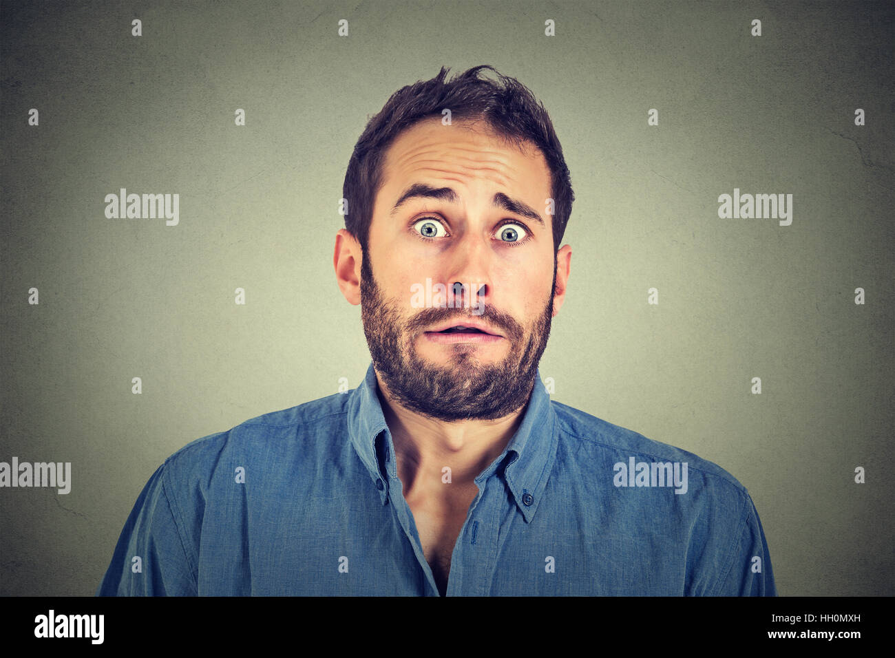 Concerned scared man - Stock Image