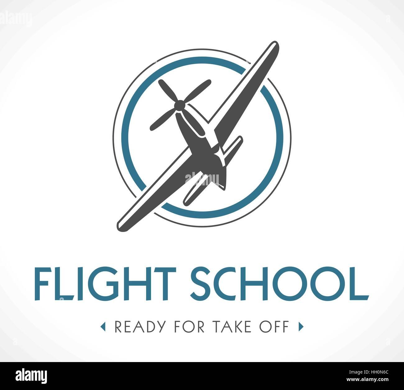Flight school logo - Stock Image