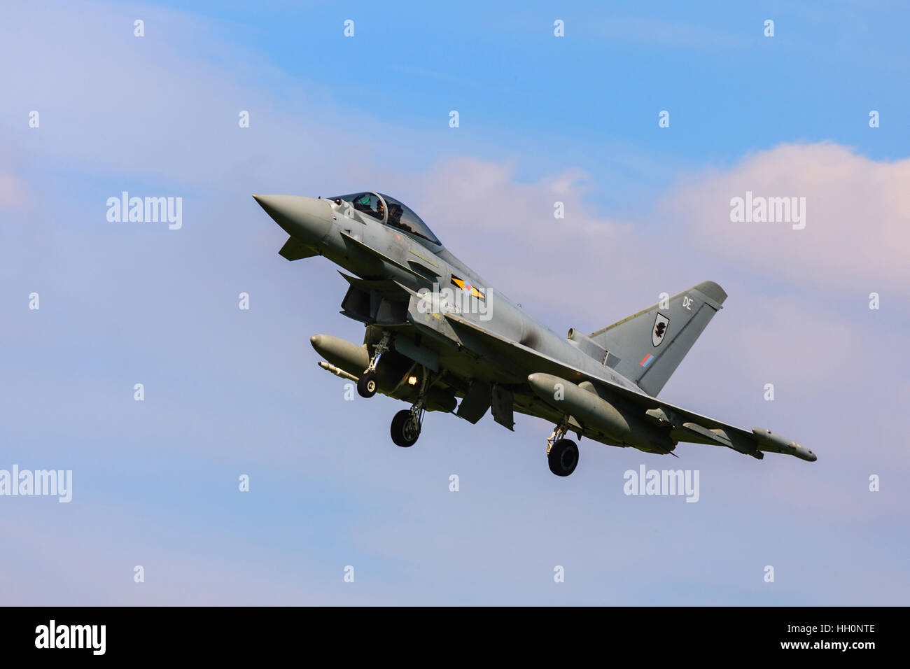 Eurofighter Typhoon FGR4 ZK305 DE XI (F) Squadron on final approach to land at RAF Conningsby - Stock Image
