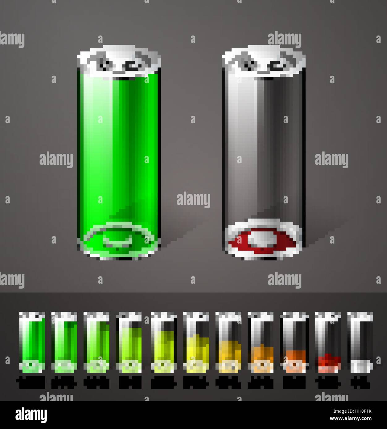 Battery charge concept - full and empty batteries on white and gray background - Stock Vector