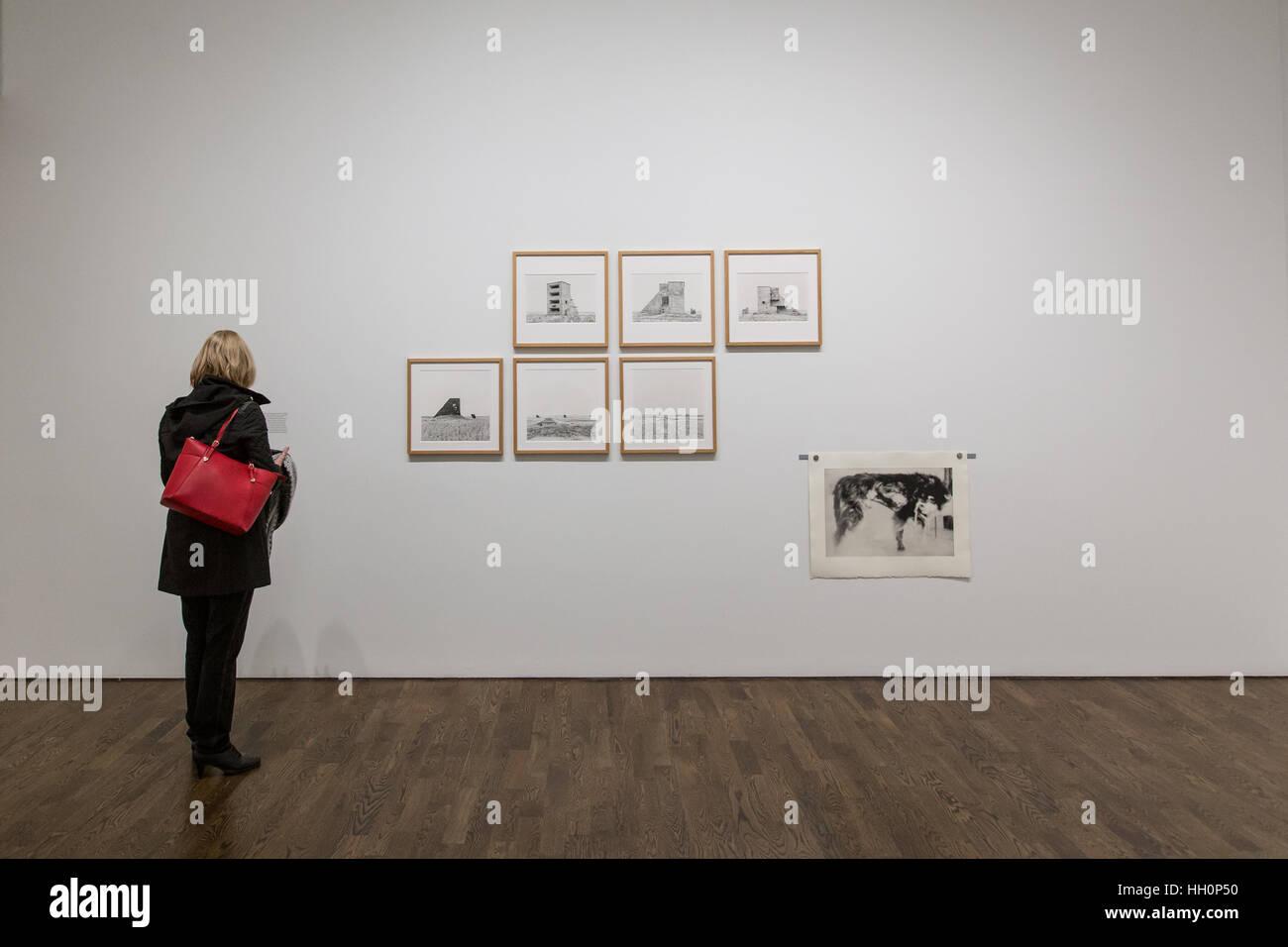 female art gallery visitor - Stock Image