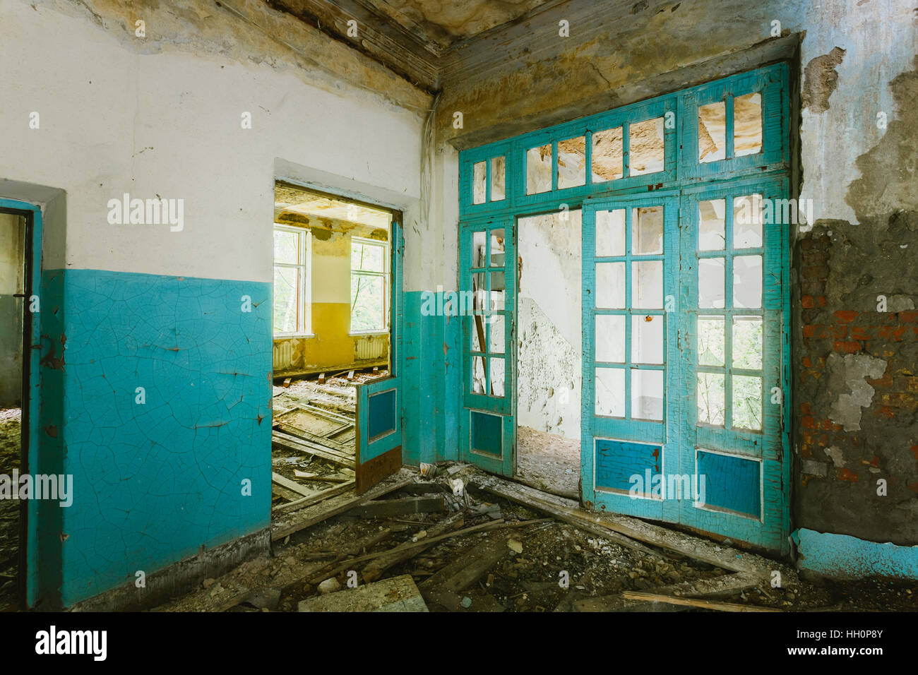 The Ruined Interior Of Abandoned School After Chernobyl Nuclear Disaster In Evacuation Zone. Consequences Of The - Stock Image