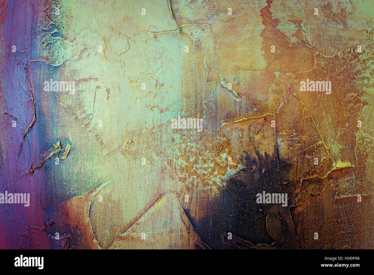 Vintage background. Vintage old painted wall with dark yellow urban graffiti. - Stock Image