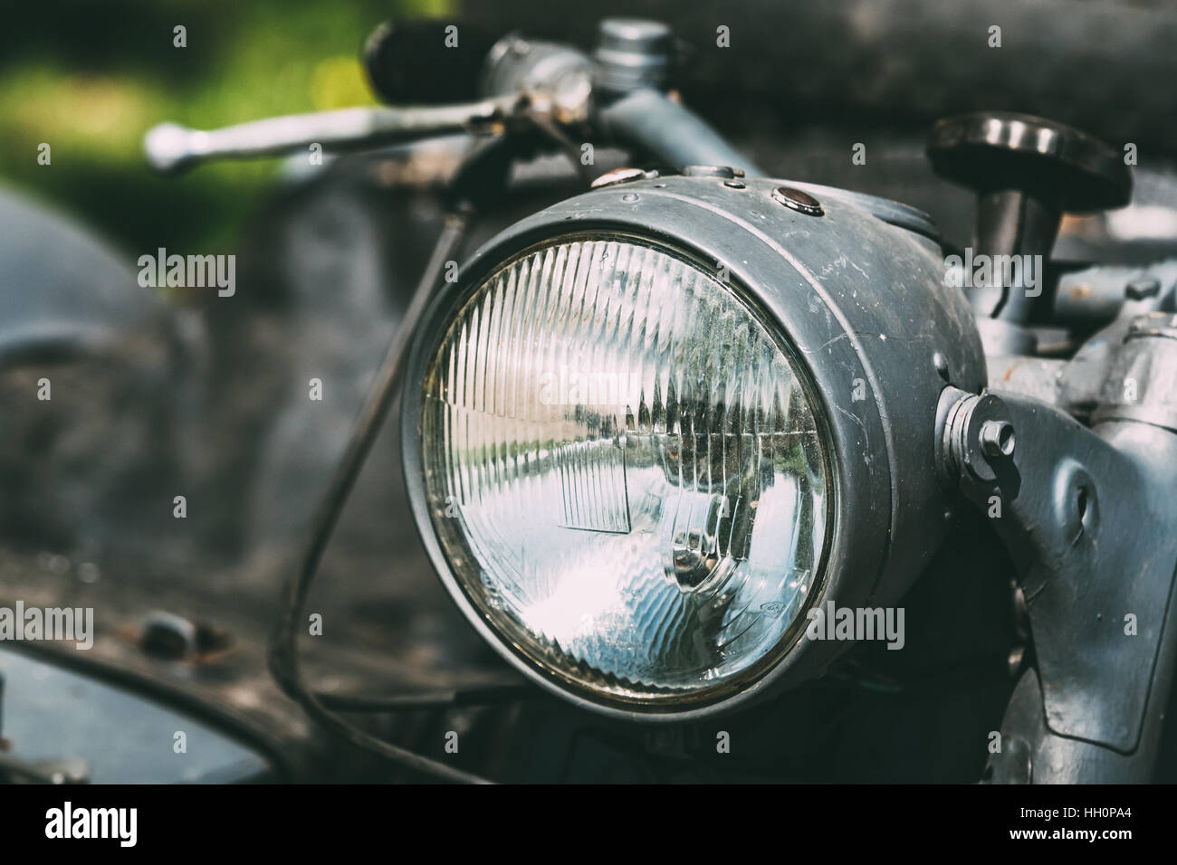 Close View Of Headlight Of The Old Rarity Gray Tricar Or Three-Wheeled Motorbike With A Sidecar. - Stock Image