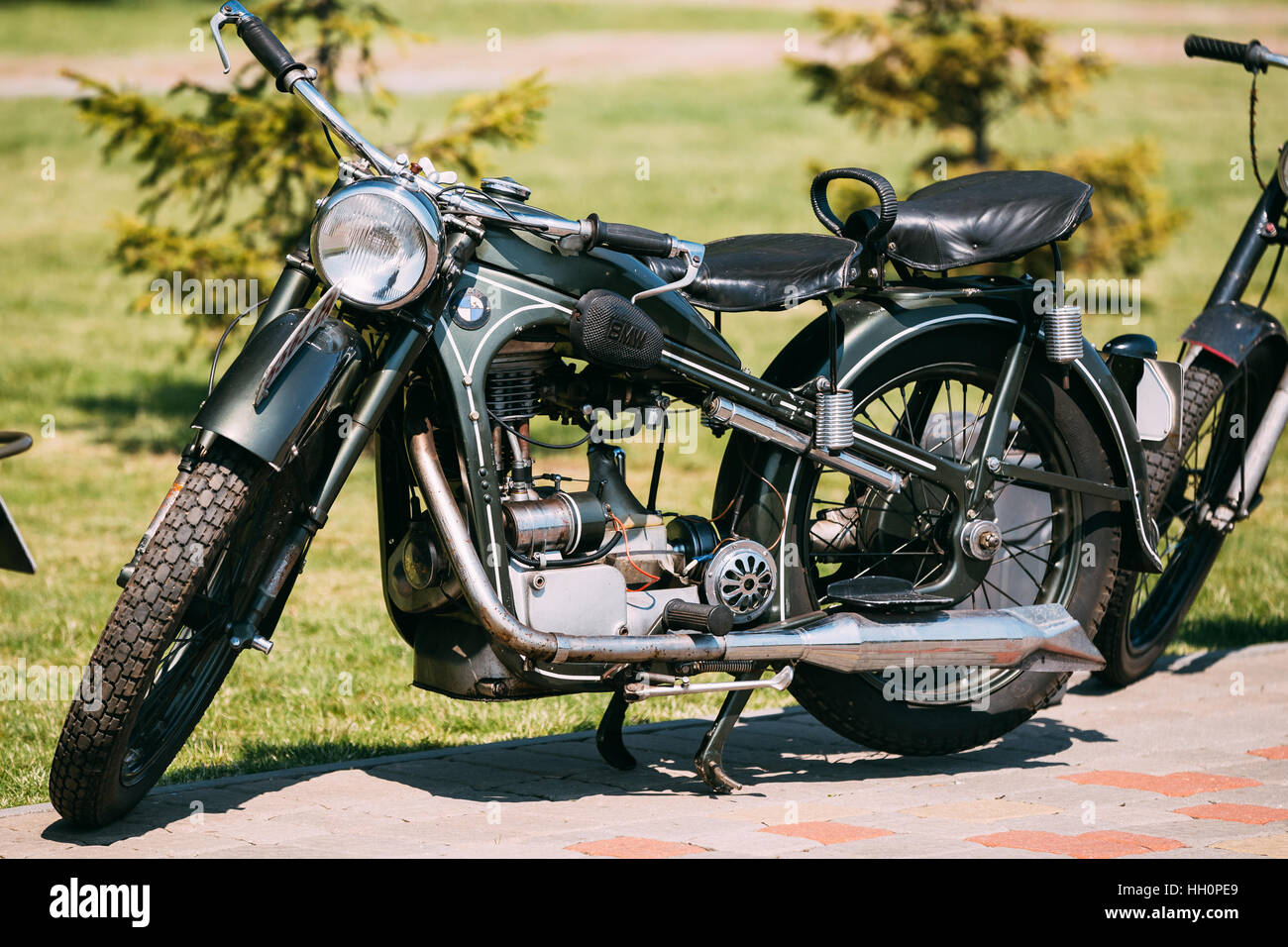 Gomel, Belarus - May 9, 2016: The Old Rarity Two-Wheeled Gray BMW Motorcycle, Displayed On The Pavement In Sunny - Stock Image