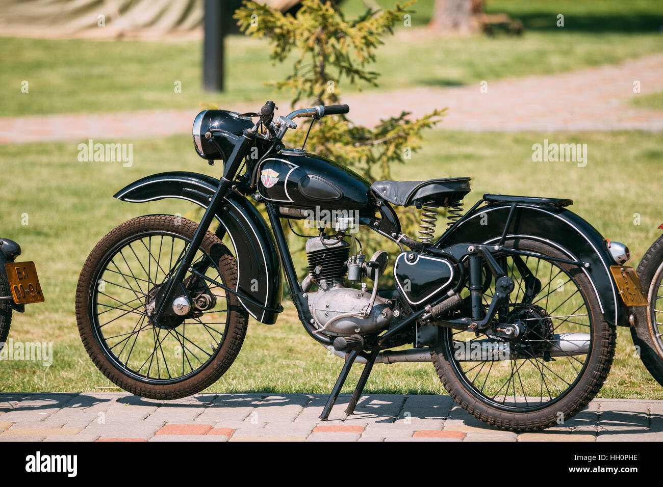 Gomel, Belarus - May 9, 2016: Minsk M1A Or M1nsk, The Old Rarity Soviet Two-Wheeled Black Motorcycle, The First - Stock Image