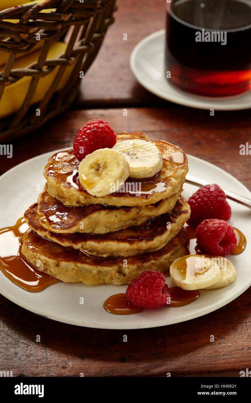 Banana oat pancakes - Stock Image