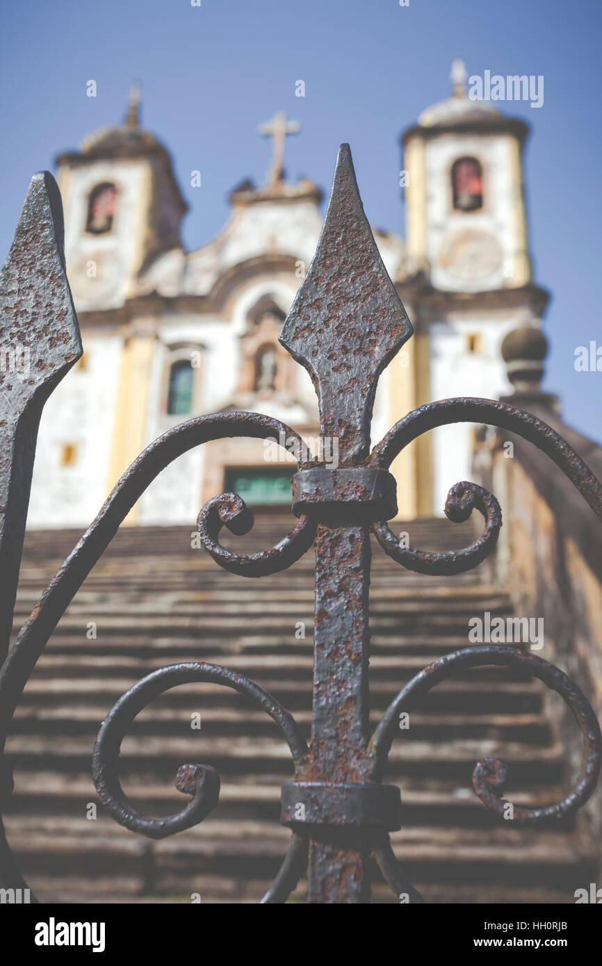 View of the Igreja de Sao Francisco de Assis of the unesco world heritage city of ouro preto in minas gerais brazil - Stock Image