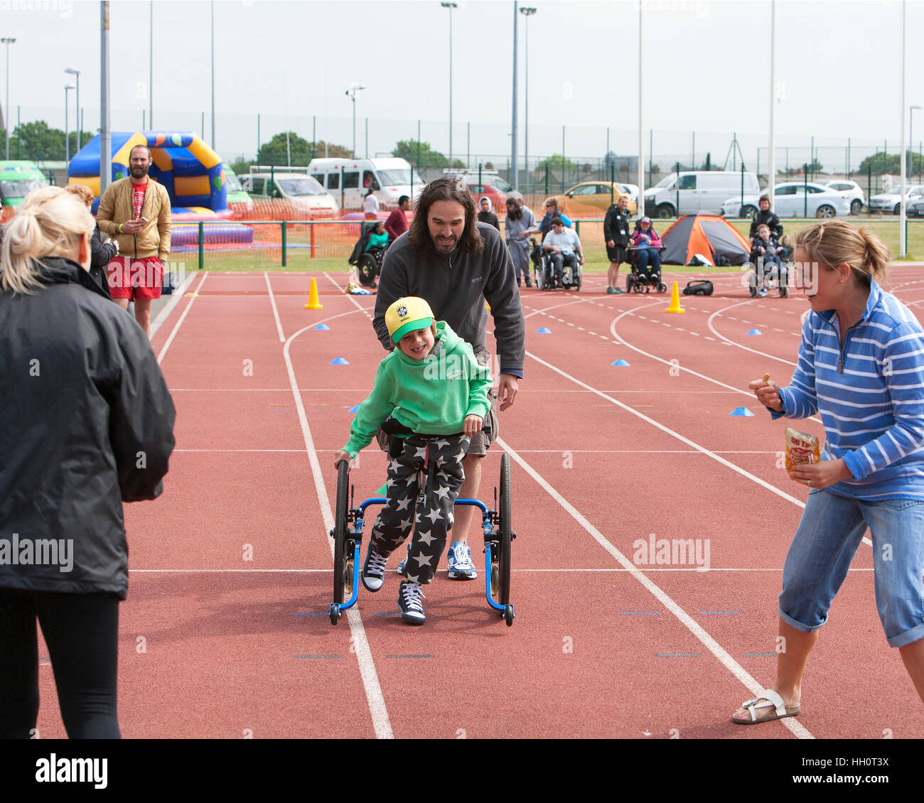 Disabled Child taking part in school sports day - Stock Image