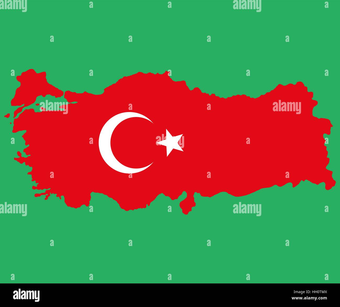 Map of Turkey Turkish flag painted with color symbols  the moo - Stock Vector