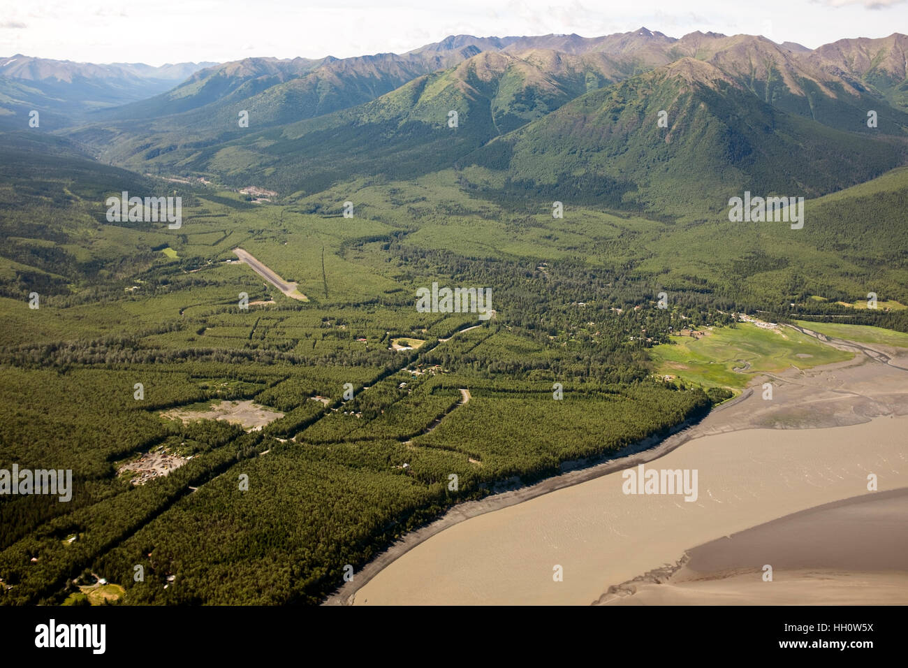 Hope, and aerial view of the old gold mining town. 'Hope City' was a mining camp for Resurrection Creek, - Stock Image