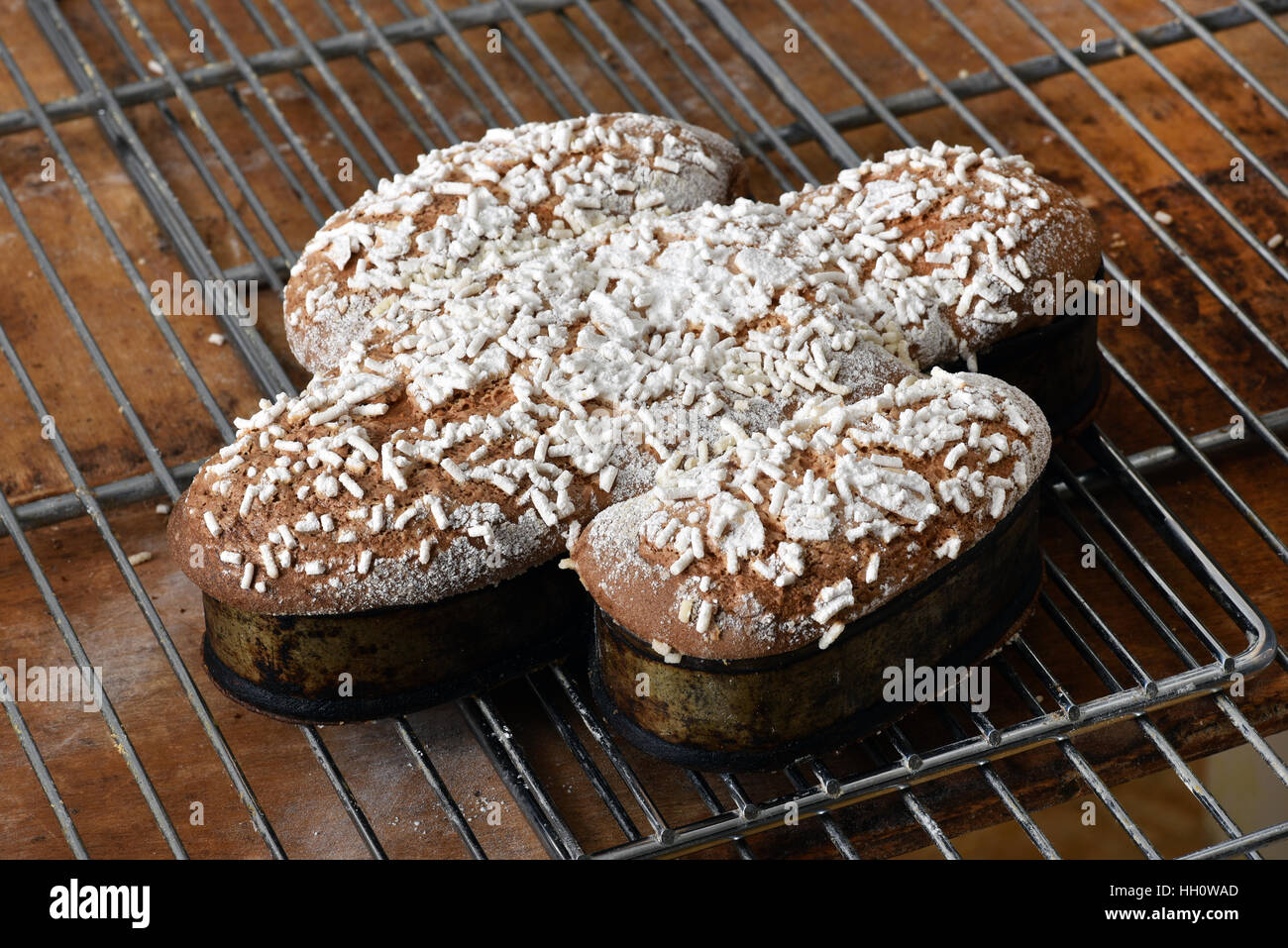 Colomba Or Italian Easter Dove Cake In The Shape Of A Flying Bird Cooling On Wire Rack Bakery