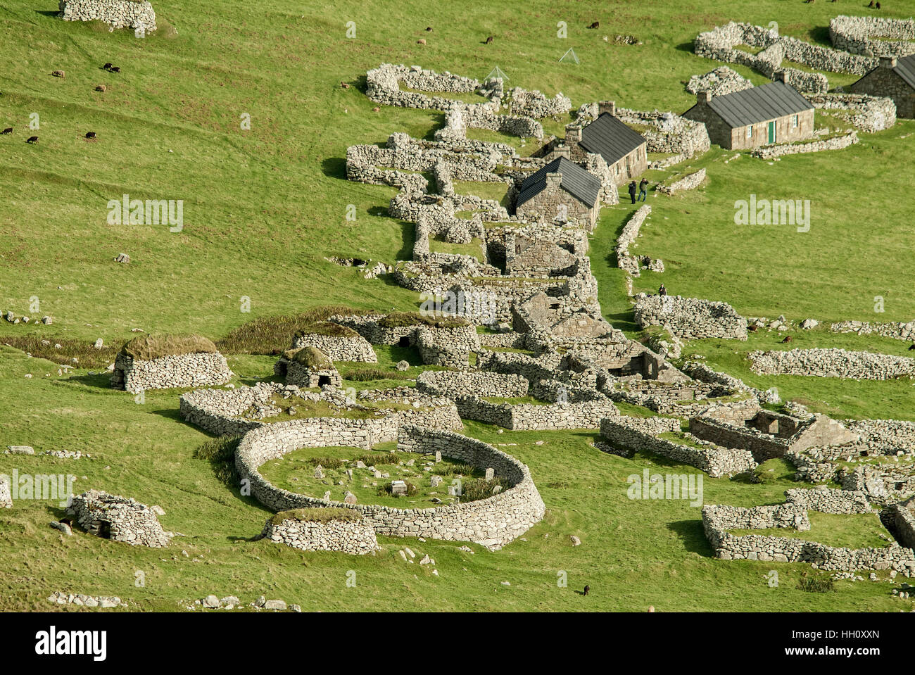 Aerial view of Hirta village street and the graveyard, St.Kilda, Outer Hebrides, Scotland UK - Stock Image