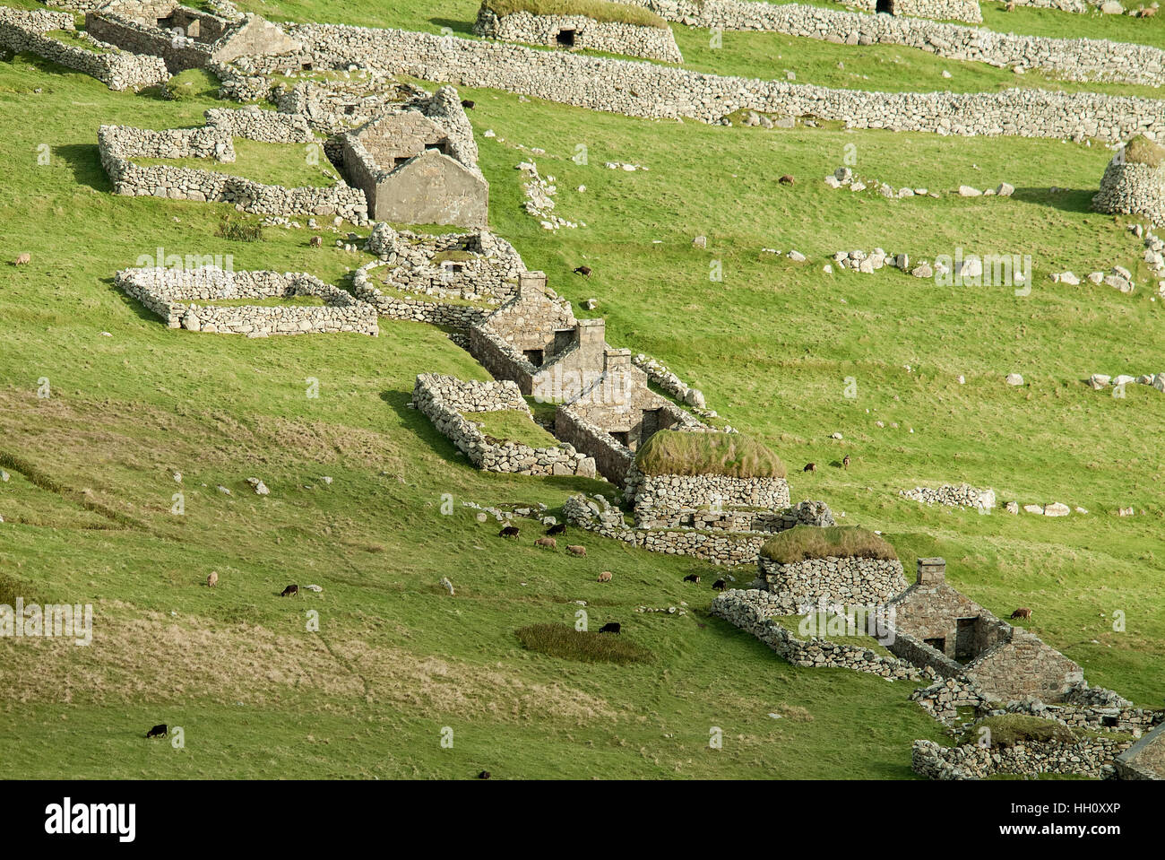 Aerial view of ruined houses and black houses on Hirta, St.Kilda, Outer Hebrides, Scotland UK - Stock Image
