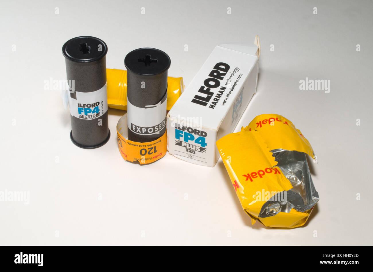 Rolls of 120 film used in medium format cameras Ilford and Kodak