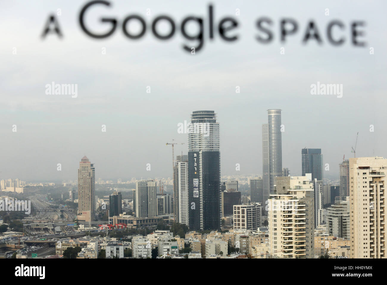 View of Tel Aviv from Google's offices in Tel Aviv, Israel - Stock Image