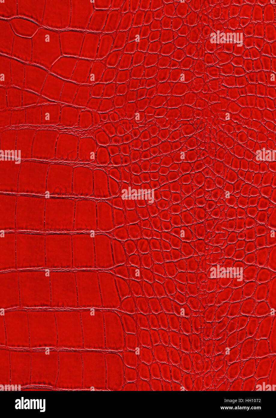 full frame scaled abstract red reptile skin surface - Stock Image