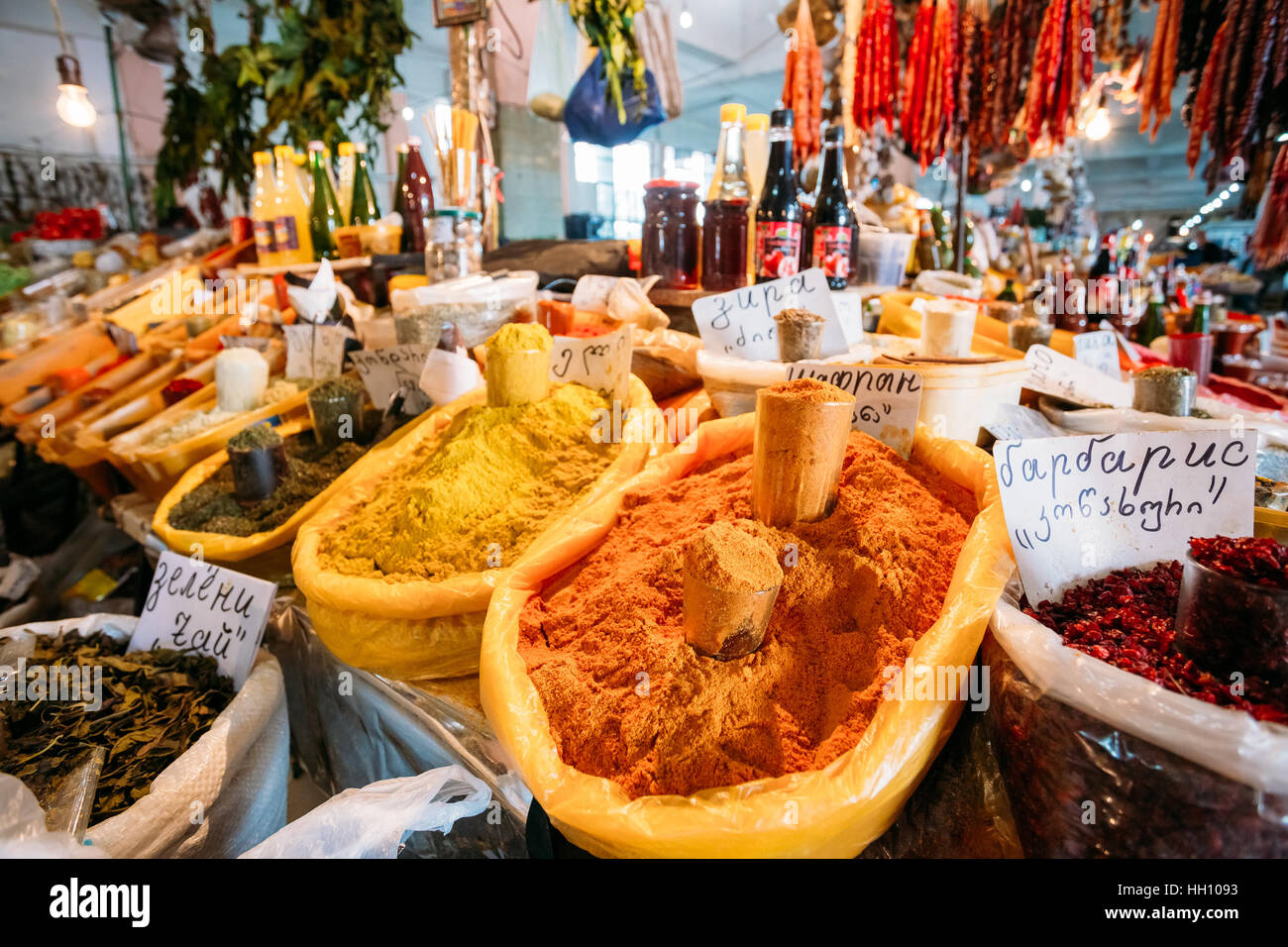 Batumi, Georgia - May 28, 2016: The Abundance Of Varicoloured Aromatic Spices, Herbs, Condiments On Sale At The - Stock Image