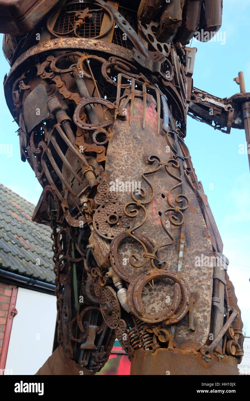 Metal Soldier, The Haunting by Martin Galbavy, Dorset, England. A sculpture made from scrap metal. - Stock Image