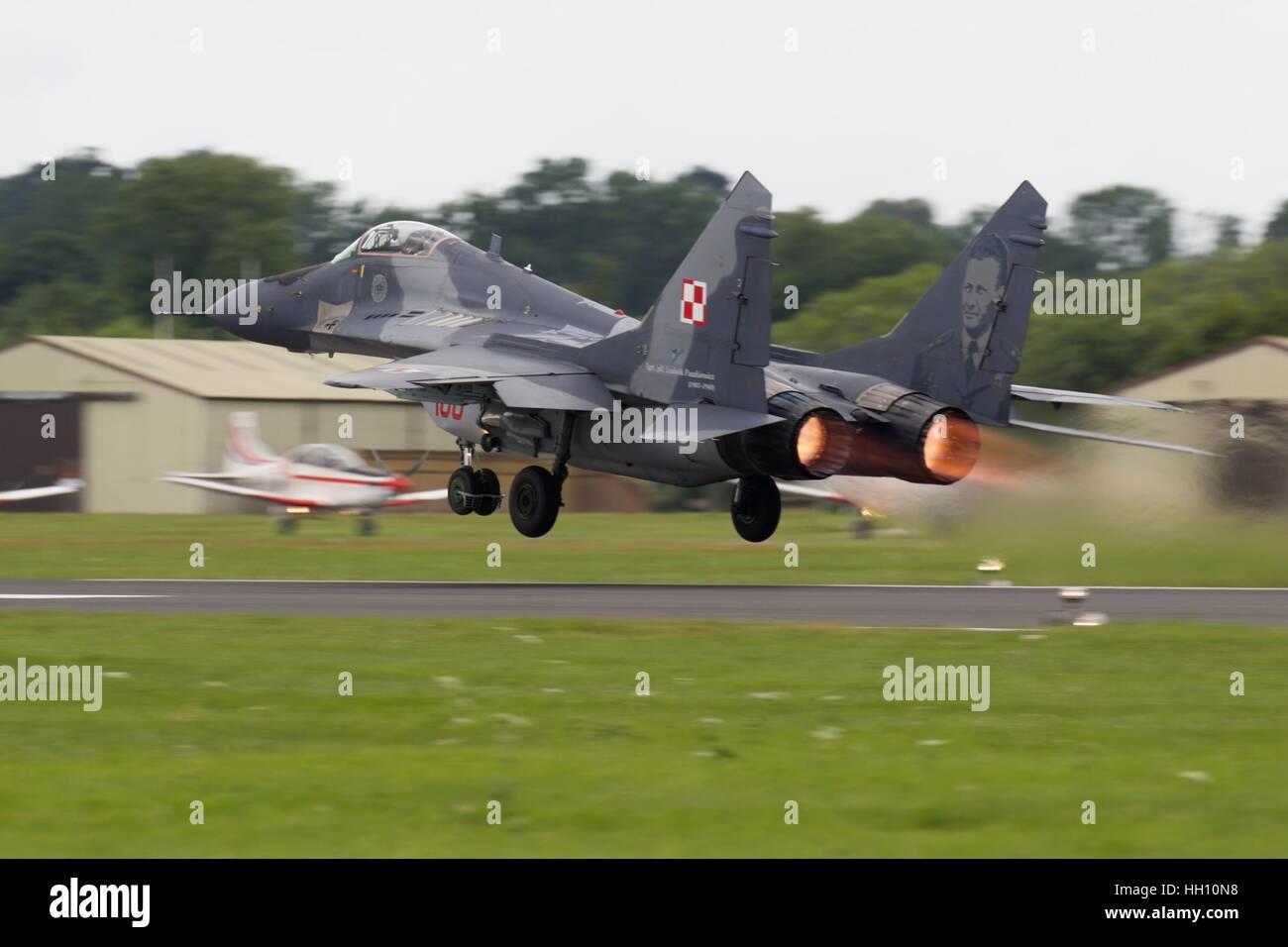 Polish MiG-29 taking off at the Royal International Air Tattoo - Stock Image