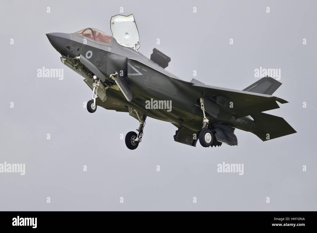 US Marine Corps F-35B Lightning ll demonstrating its hovering capabilities - Stock Image