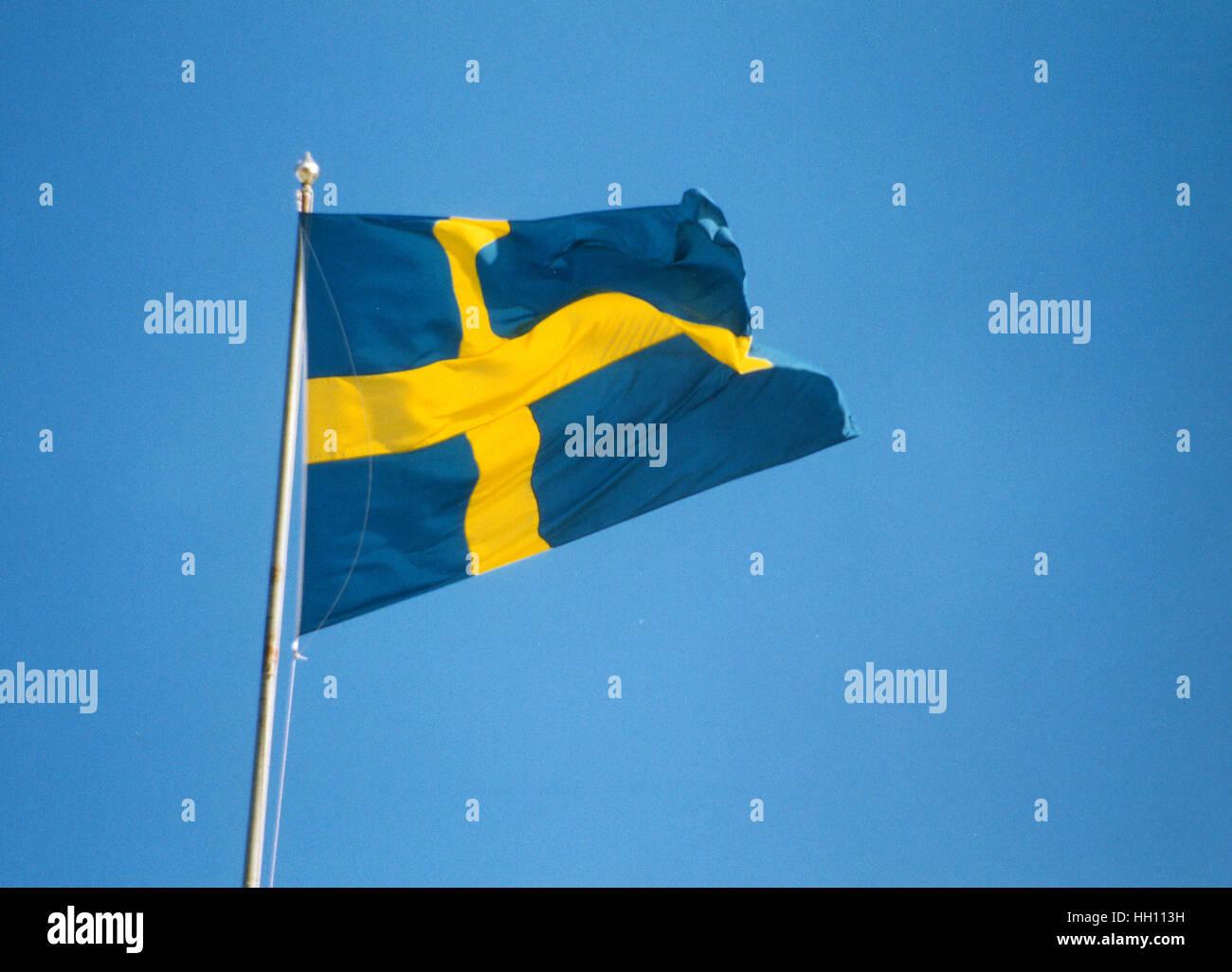 SWEDISH FLAG - Stock Image