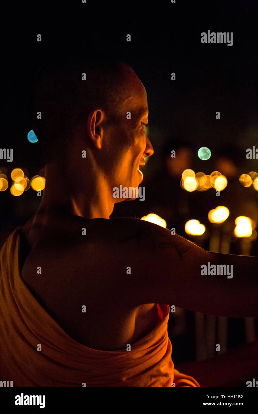 Buddhist monk, Yeepeng Lanna International Lantern Festival, Lanna Dhutanka, Chiang Mai, Thailand Stock Photo