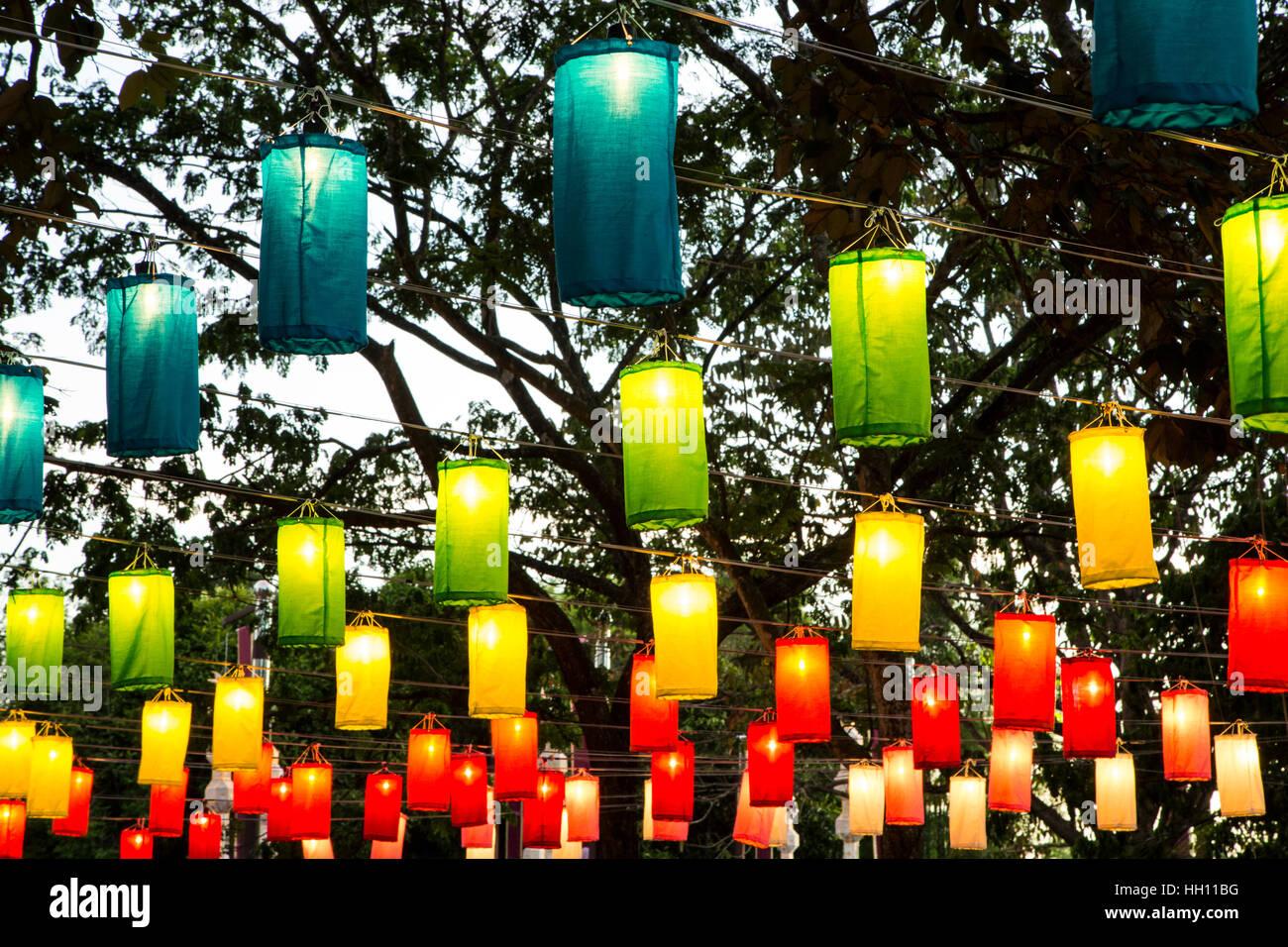 Colorful lanterns, Yeepeng Lanna International Lantern Festival, Lanna Dhutanka, Chiang Mai, Thailand Stock Photo