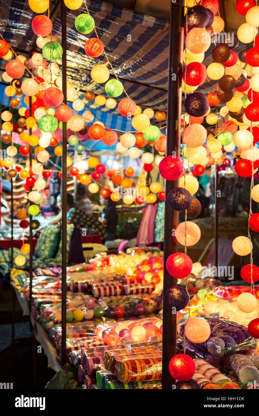 Stall selling lighted decorative balls, Sunday Market, Chiang Mai