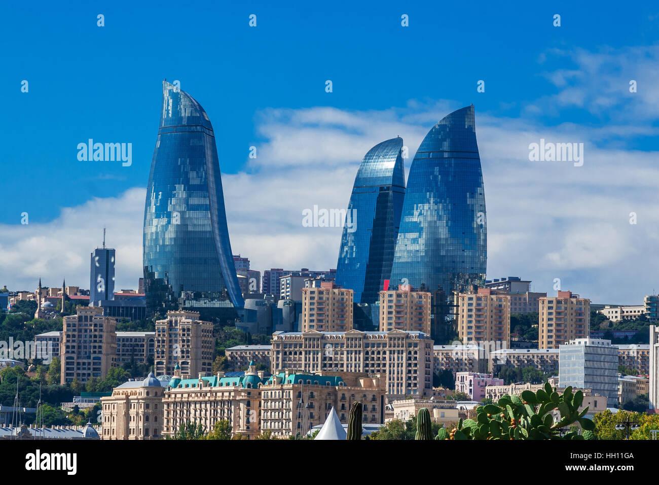 Baku, Azerbaijan - October 2, 2016: Flame towers in the cityscape. Panoramic view of Baku - the capital of Azerbaijan Stock Photo