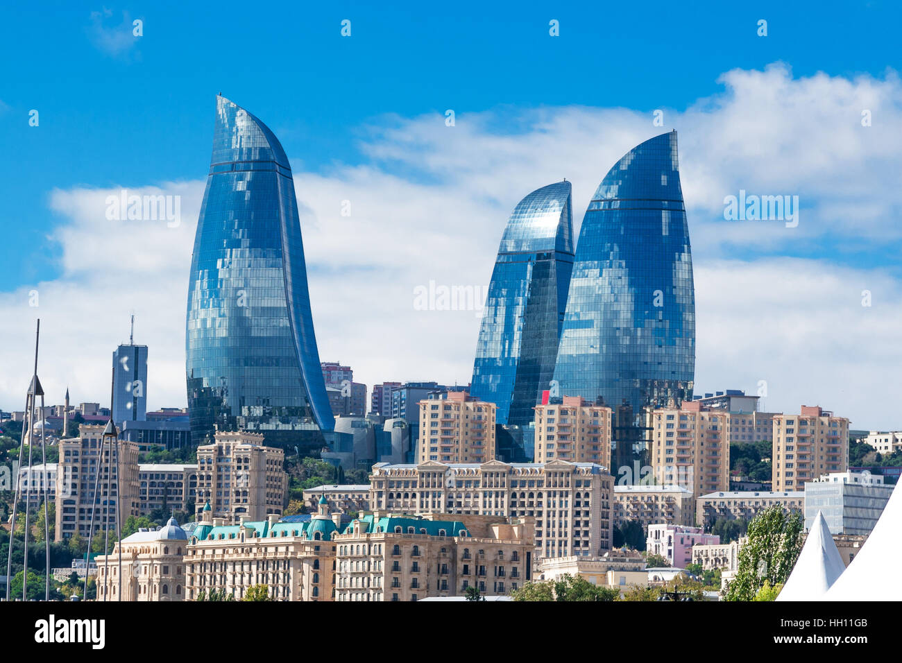 Baku, Azerbaijan - October 2, 2016: Flame towers in the cityscape. Panoramic view of Baku - the capital of Azerbaijan - Stock Image