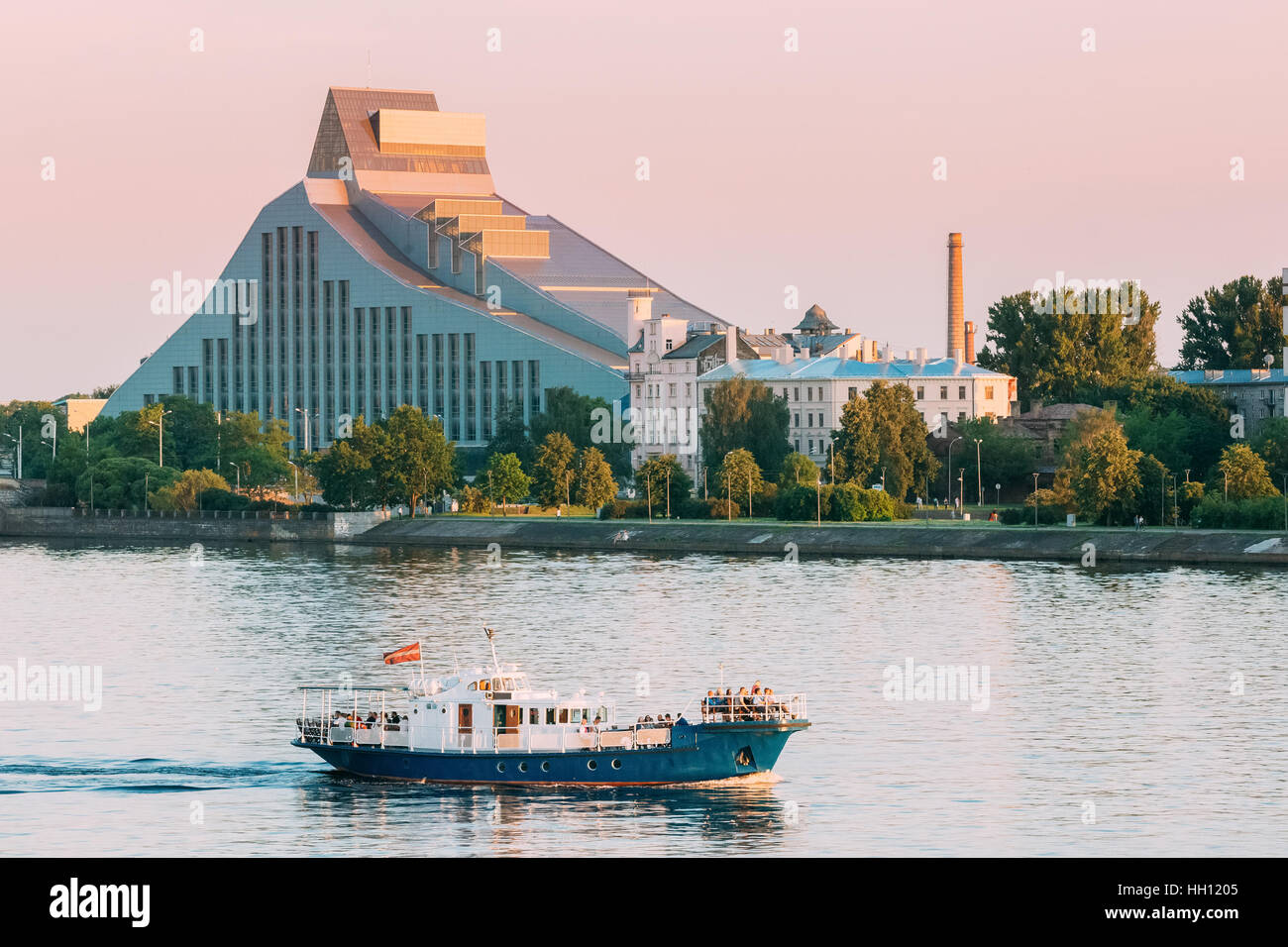 Riga, Latvia. The View Of The Main Building Of The National Library Lock Of Light Or Gaismas Pils, Modern Landmark - Stock Image