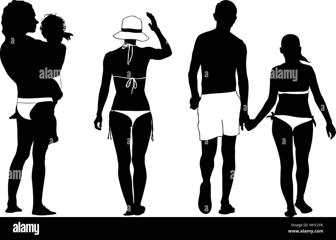 set of people dressed for the beach - Stock Image