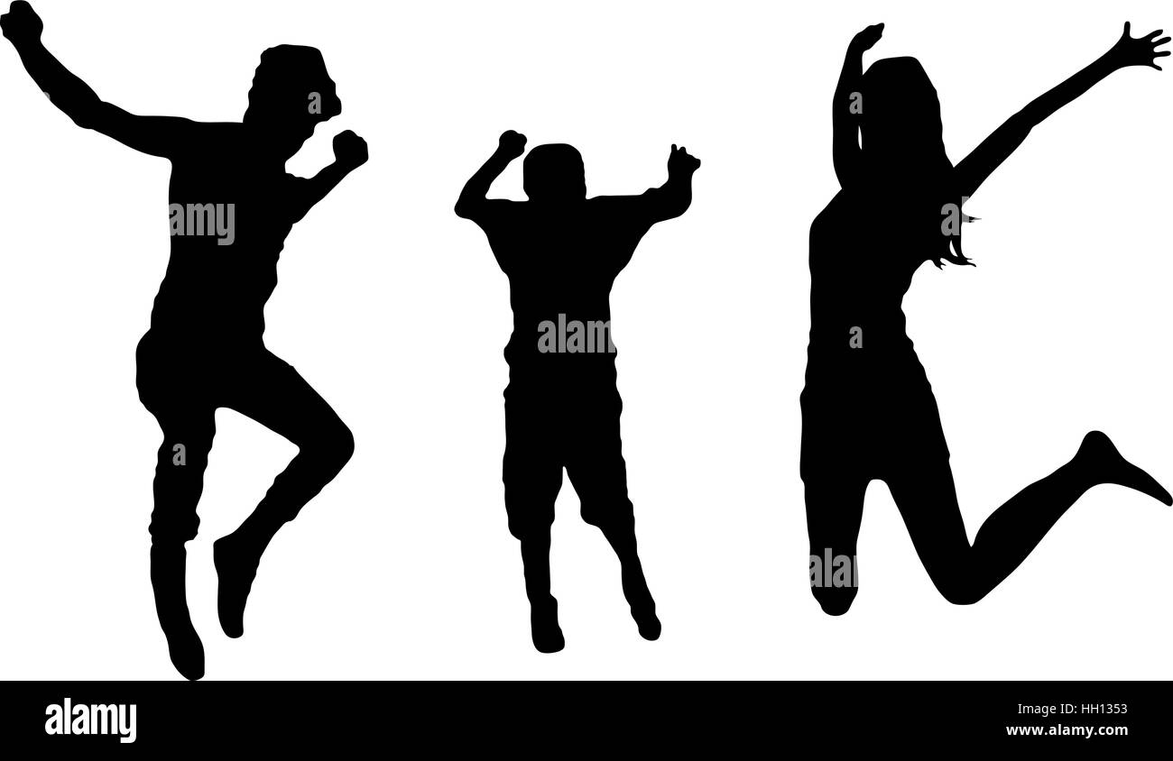 jumping family illustration isolated - Stock Vector