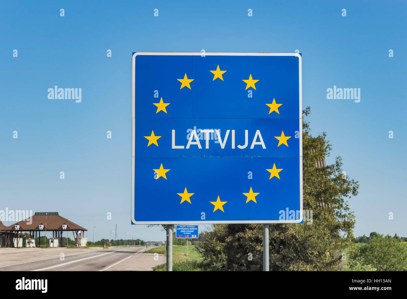 Border to the Baltic State of Latvia (Latvija), European Union, Baltic States, Europe - Stock Image